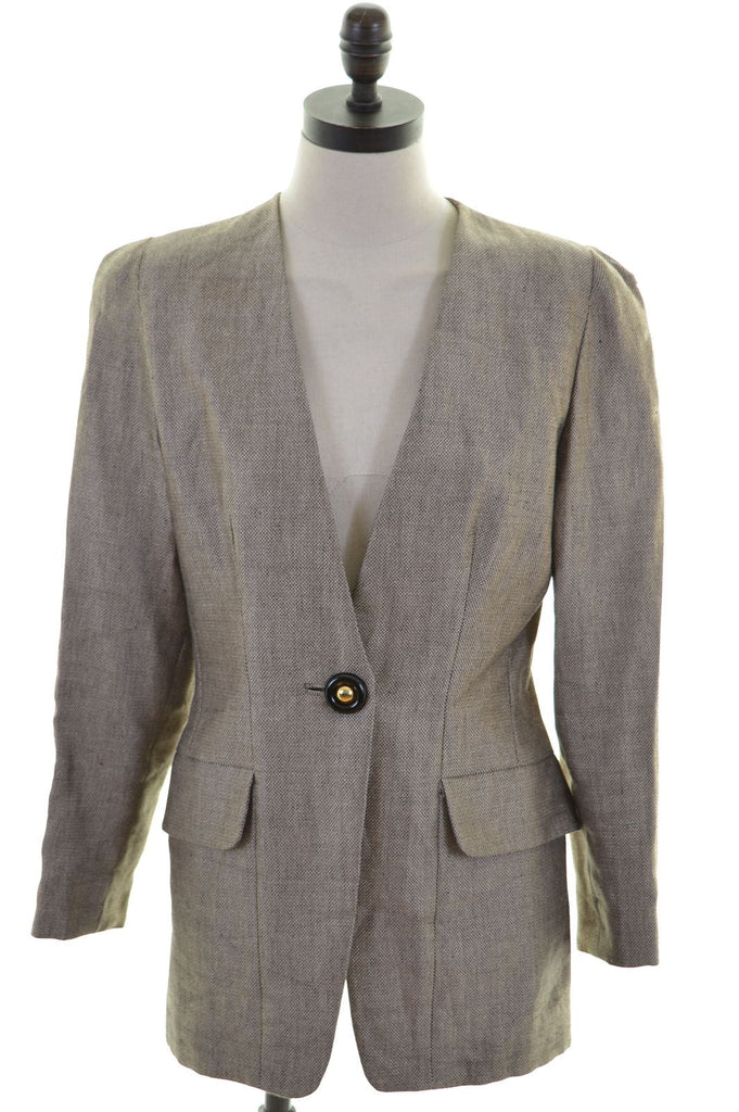 GAI MATTIOLO Womens 1 Button Blazer Jacket Size 16 Large Multi Linen - Second Hand & Vintage Designer Clothing - Messina Hembry