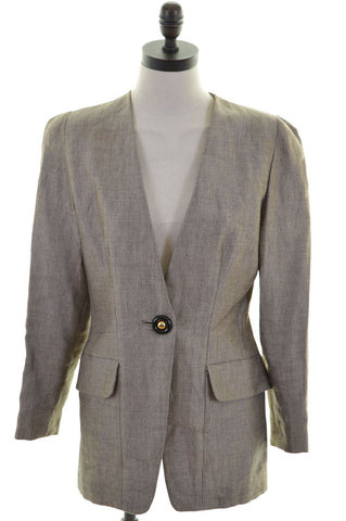GAI MATTIOLO Womens 1 Button Blazer Jacket Size 16 Large Multi Linen