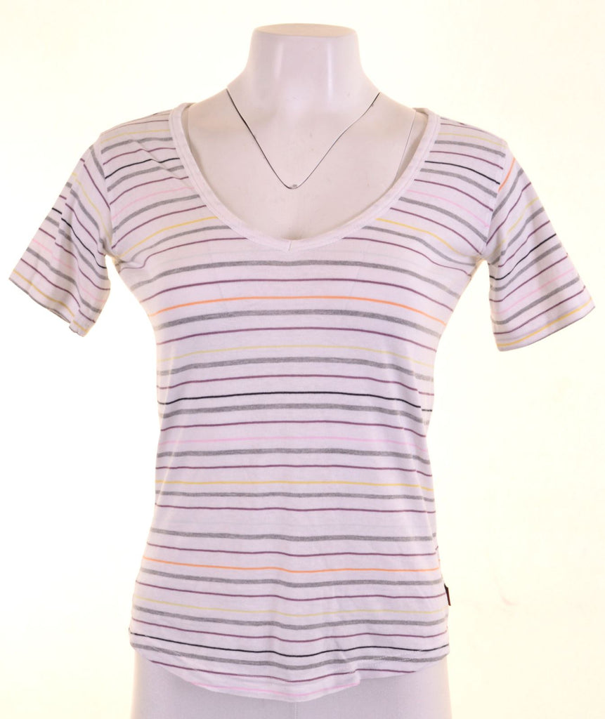 KAPPA Womens T-Shirt Top Size 12 Medium Multicoloured Striped Cotton - Second Hand & Vintage Designer Clothing - Messina Hembry