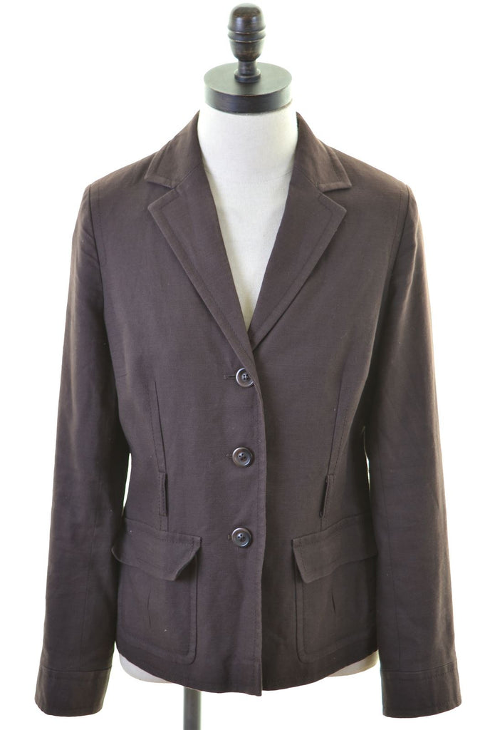 MONSOON Womens Blazer Jacket UK 10 Small Brown Cotton - Second Hand & Vintage Designer Clothing - Messina Hembry