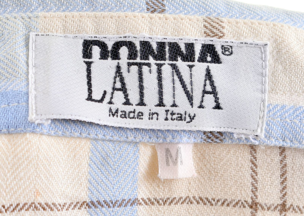 DONNA LATINA Womens Shirt Size 14 Medium Beige Striped Cotton Vintage - Second Hand & Vintage Designer Clothing - Messina Hembry