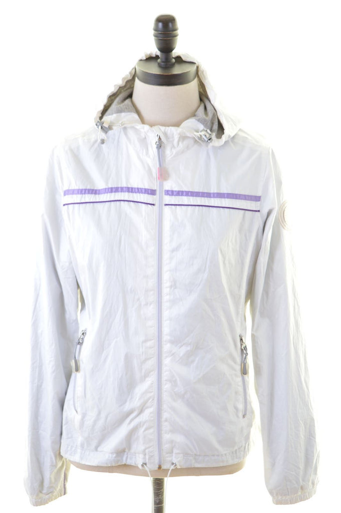 CHAMPION Womens Rain Jacket Size 10 Small White Polyester - Second Hand & Vintage Designer Clothing - Messina Hembry