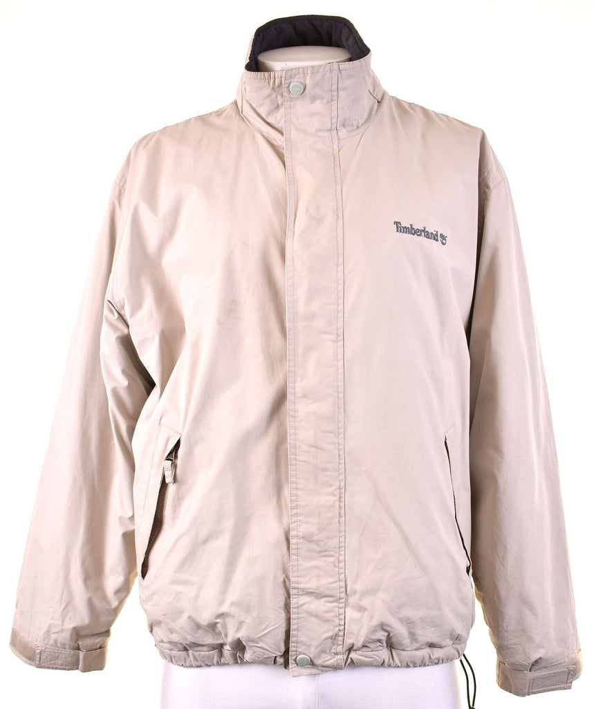 TIMBERLAND Mens Windbreaker Jacket Size 40 Large Beige Cotton - Second Hand & Vintage Designer Clothing - Messina Hembry