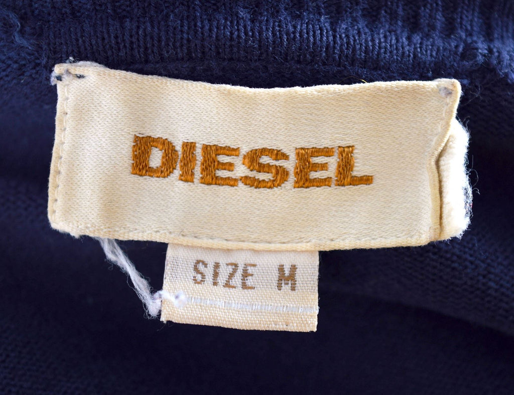 DIESEL Mens V-Neck Jumper Sweater Medium Navy Blue - Second Hand & Vintage Designer Clothing - Messina Hembry