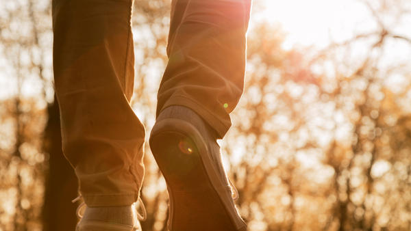 Person walking through a wooded area, with a close up of his shoes.