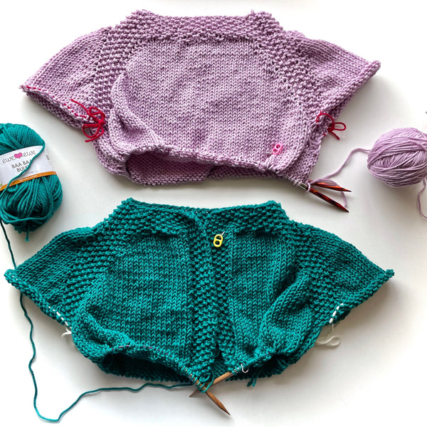 Pop Top Pullover and Pop Top Cardigan knitting work in progress