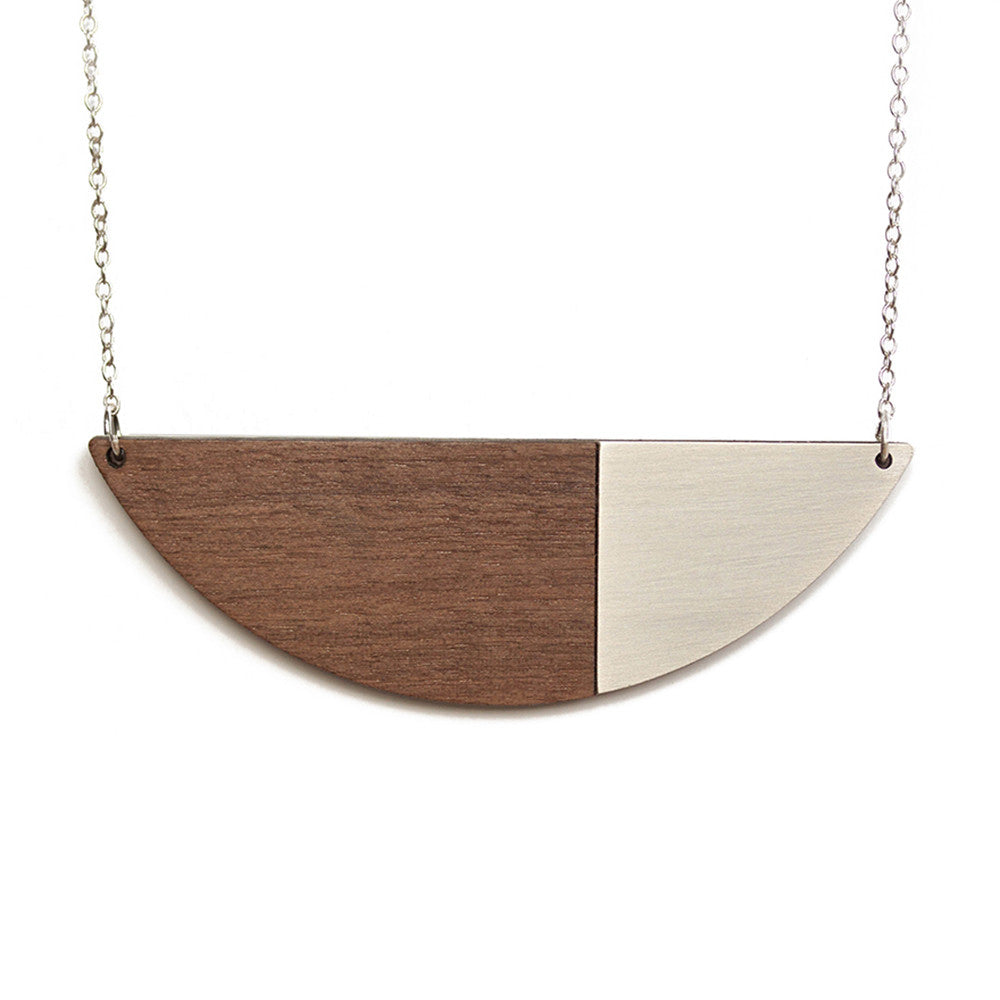 Alexandra Necklace Walnut & Brushed Steel