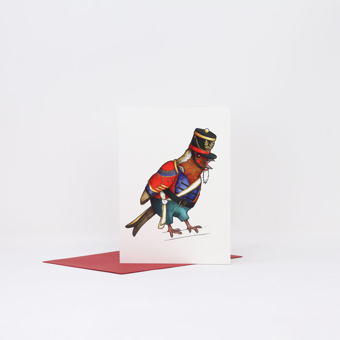 'Nutcracker Robin' Christmas card by Birds in Hats.