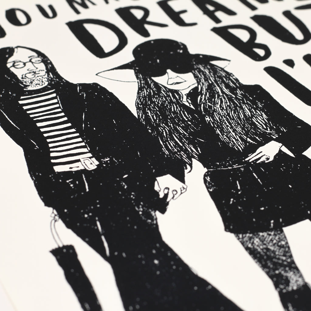 Close up shot of signed 'Yoko et John' screenprint by Charlotte Farmer.