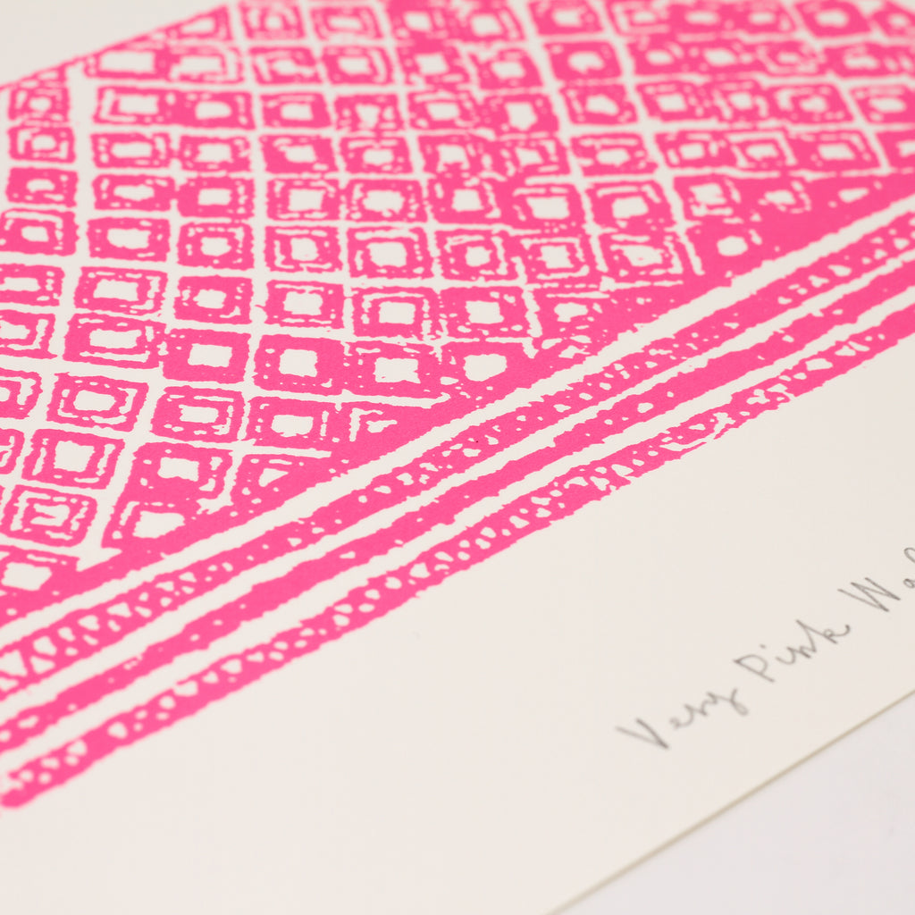 Close up shot of signed screenprint 'Very Pink Wafer' by Charlotte Farmer.