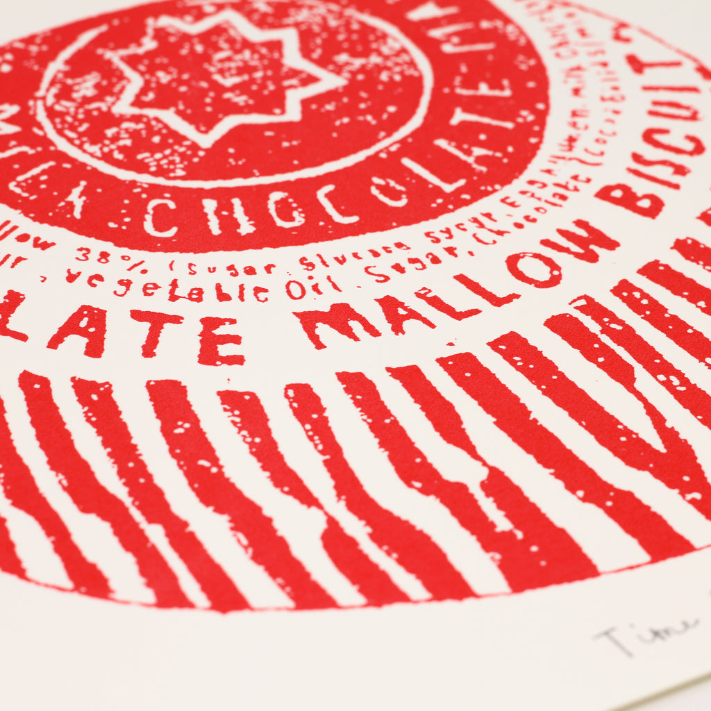 Close up shot of signed 'Time for Teacakes' screenprint by Charlotte Farmer.