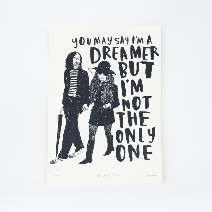 Signed 'Yoko et John' screenprint by Charlotte Farmer.