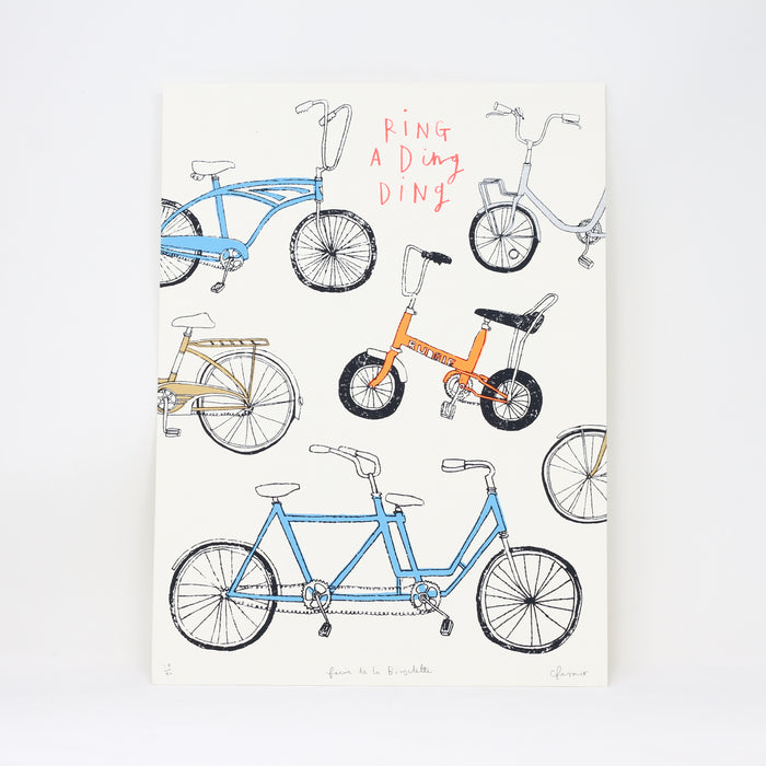 Limited Edition 'Faire de la Bicyclette' screen print by Charlotte Farmer.