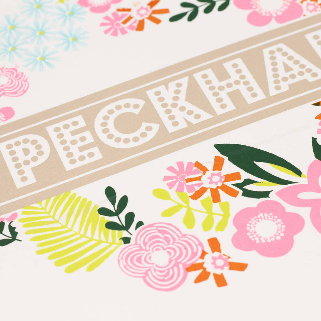 Close up shot of 'Peckham' screenprint by Ginger Line Designs.