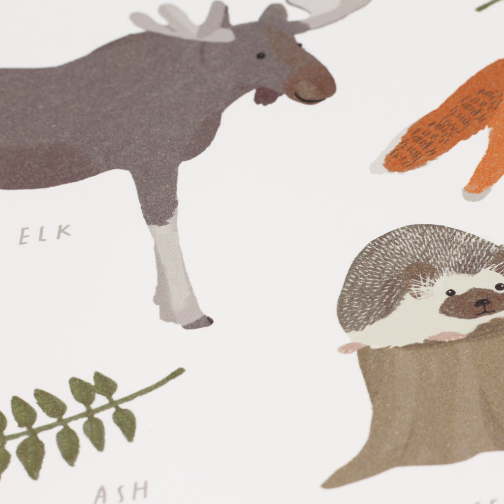 Close up shot of 'Forest Animals' digital print by Hanna Melin.