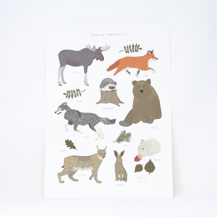 'Forest Animals' digital print by Hanna Melin.