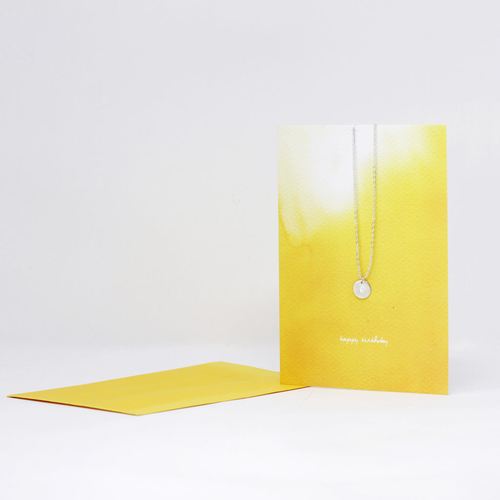 Silver Initial Necklace Greeting Card -Yellow