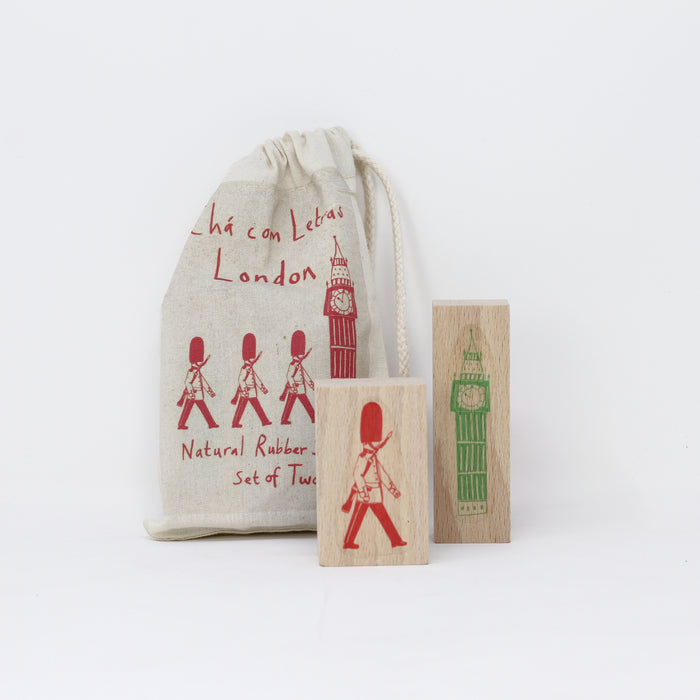 'London' natural rubber set of two stamps by James Barker.