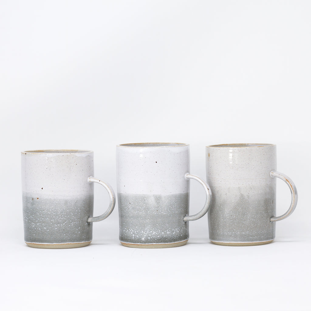 Three 'Cosy Mug - Misty Morning' hand thrown mugs by Libby Ballard.