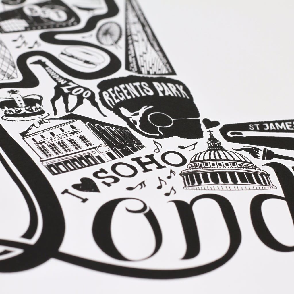Close up shot of 'Best of London' limited edition screenprint by Lucy Loves This.