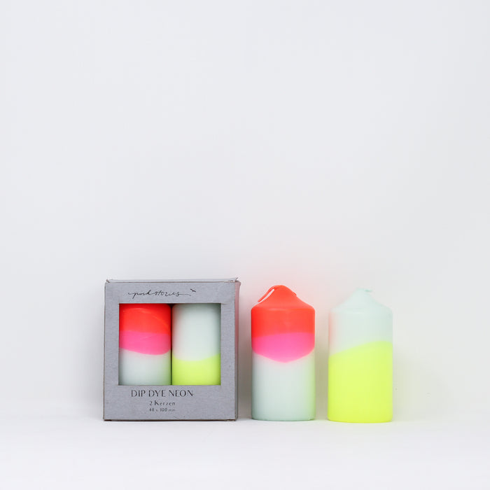 Dip dye neon 'Rainbow Wings' candles with box by Pink Stories.