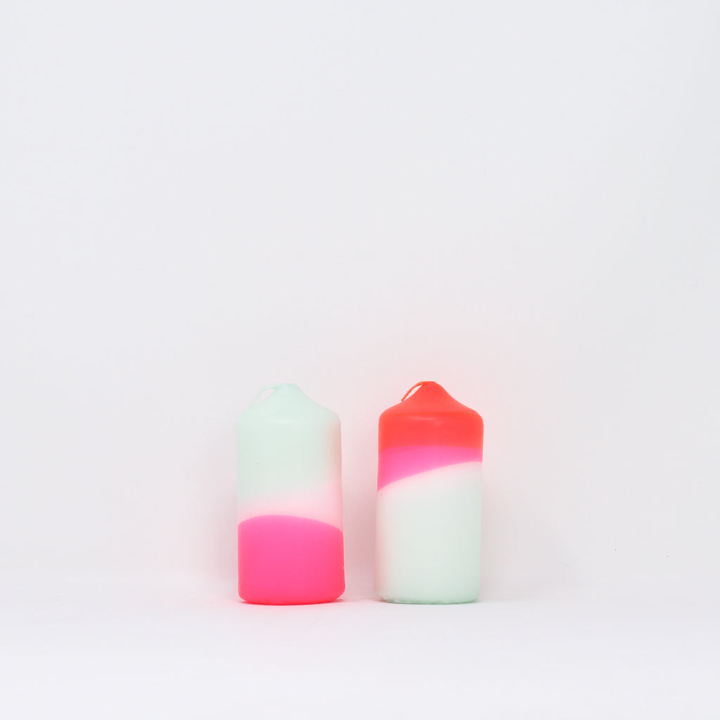 Dip dye neon 'Peppermint Cherries' candles by Pink Stories.