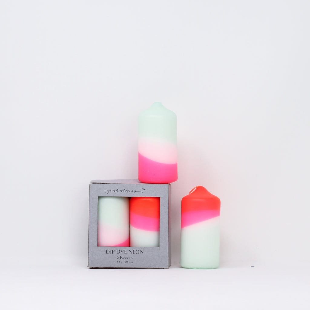 Dip dye neon 'Peppermint Cherries' candles with box by Pink Stories.