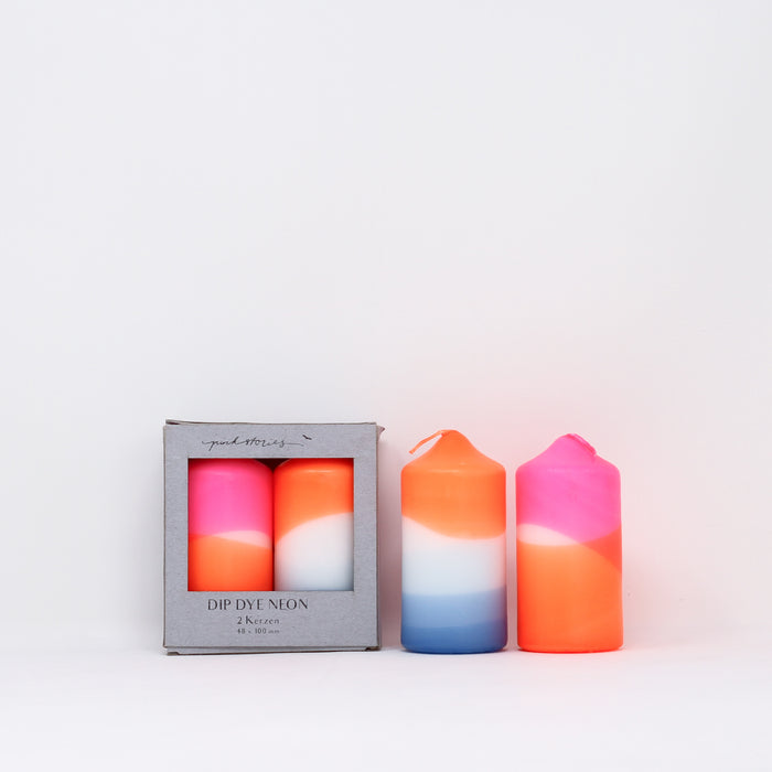 Dip dye neon 'Cotton Candy' candles with box by Pink Stories.