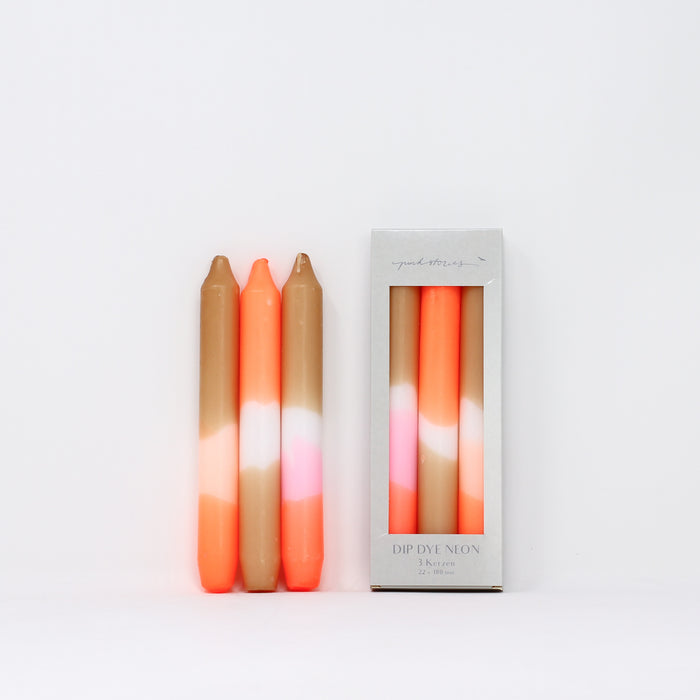 Dip dye neon 'Papaya Sand' candles with box by Pink Stories.