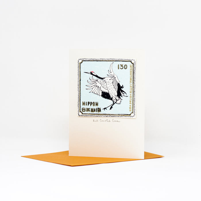 Red Crested Crane card by Charlotte Farmer.