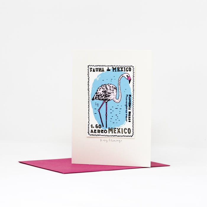 Rosy Flamingo card by Charlotte Farmer.