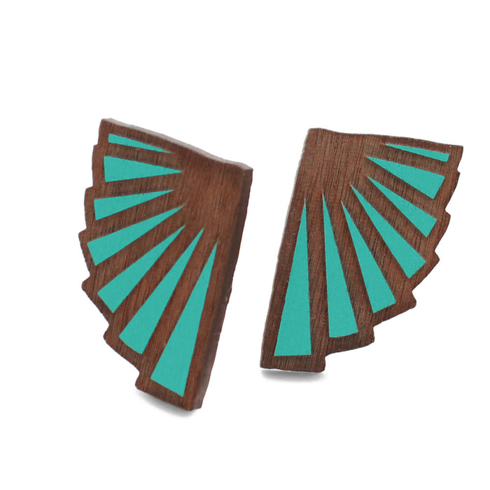 Teal Eventail Stud Earrings