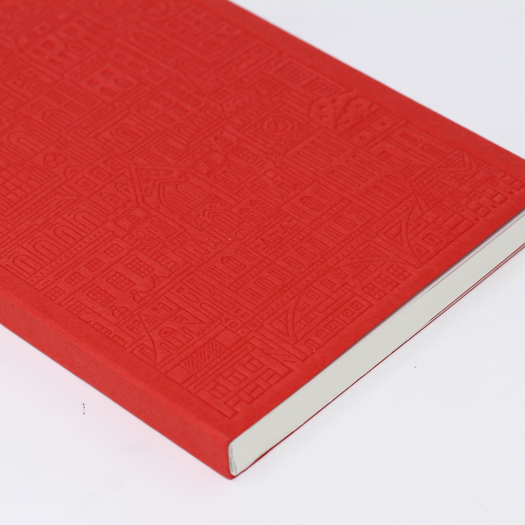 'Westminster' red debossed notebook by The City Works.