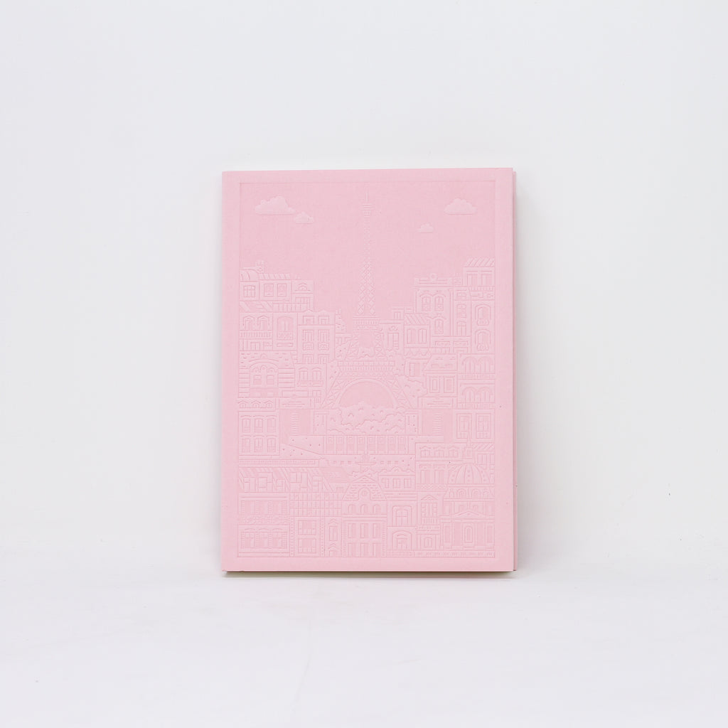 Eiffel Tower pink debossed notebook by The City Works.