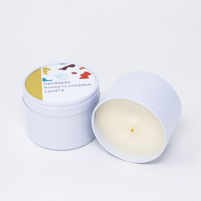 Honey and Cinammon handmade natural soy wax candle made with essential oil.