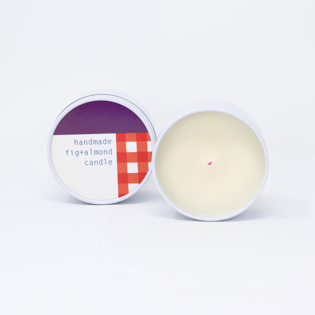Fig and Almond handmade natural soy wax candle made with essential oil.