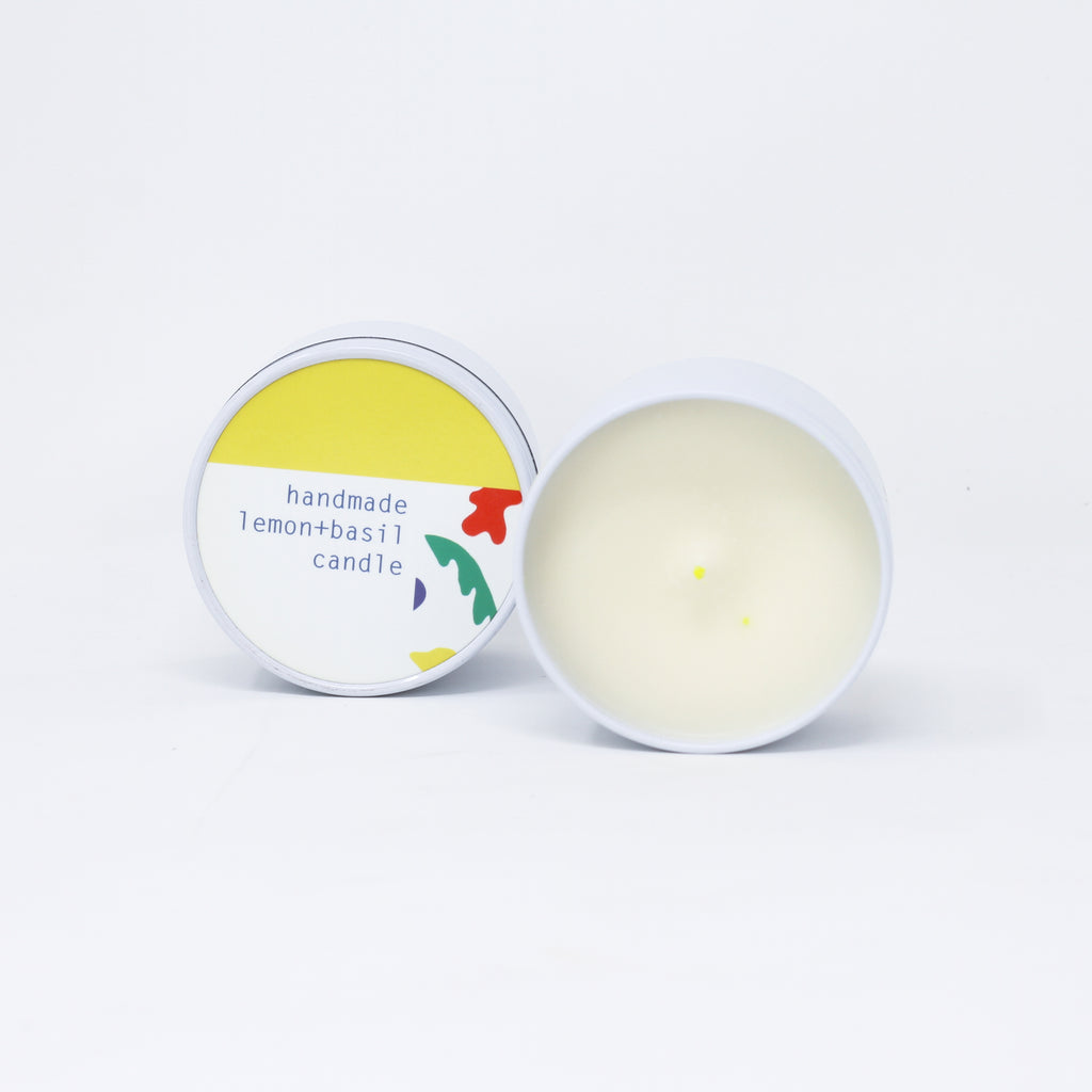 Lemon and Basil handmade natural soy wax candle made with essential oil.