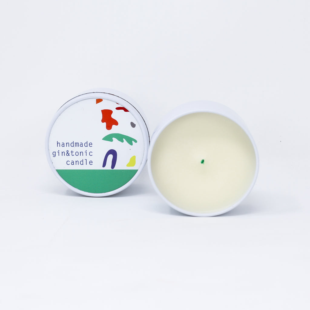 Gin and Tonic handmade natural soy wax candle made with essential oil.