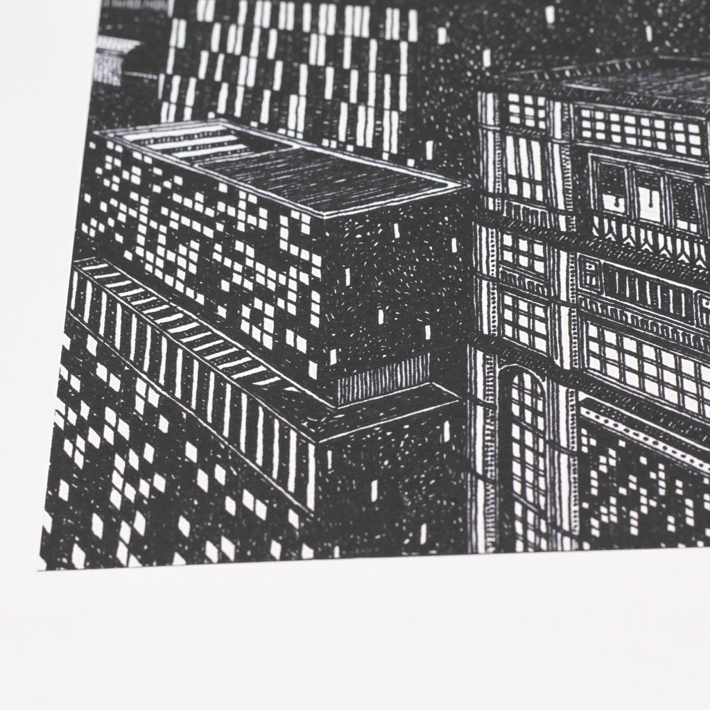 Close up shot of 'City' giclee print by Thomas Radclyffe.
