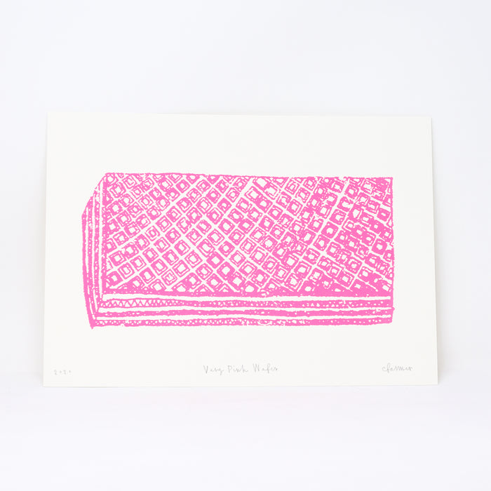 Signed 'Very Pink Wafer' screenprint by Charlotte Farmer.