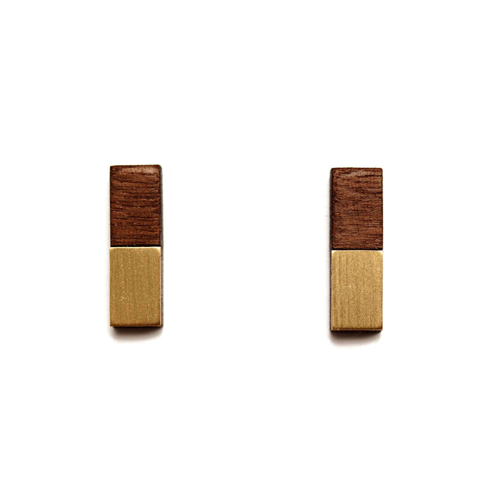 Thalia Earrings Walnut & Brass