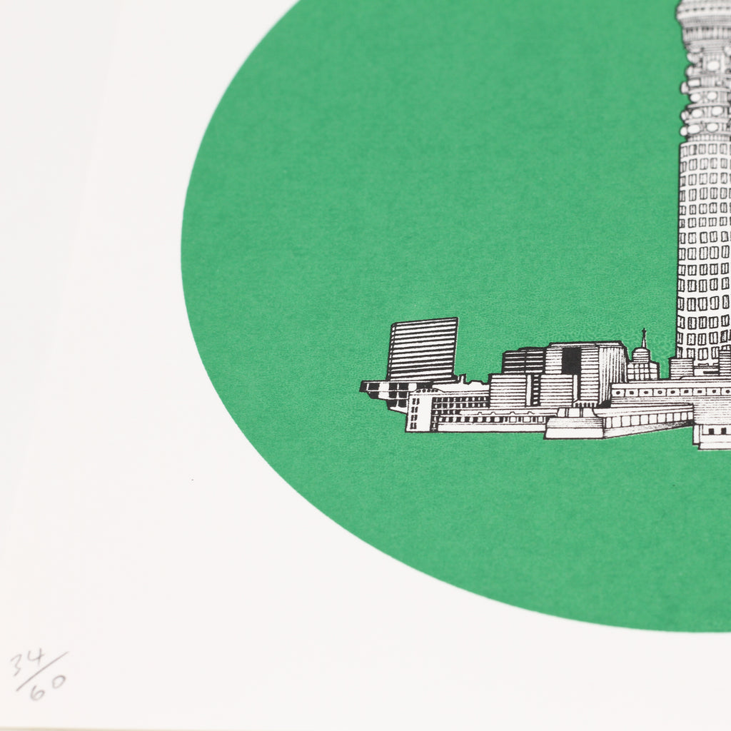 Close up shot of 'BT-Tower' limited edition by Will Clarke.