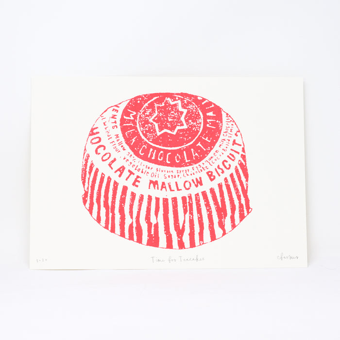 Signed 'Time for Teacakes' screenprint by Charlotte Farmer.