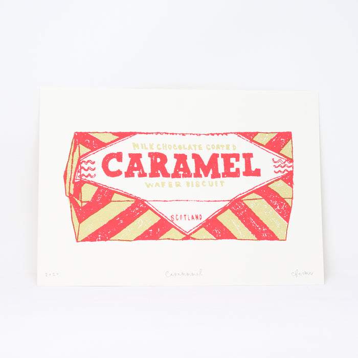 Signed 'Carammmel' screenprint by Charlotte Farmer.