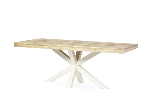 Tafel SUPERSTAR STEIGERHOUT SPINPOOT WIT
