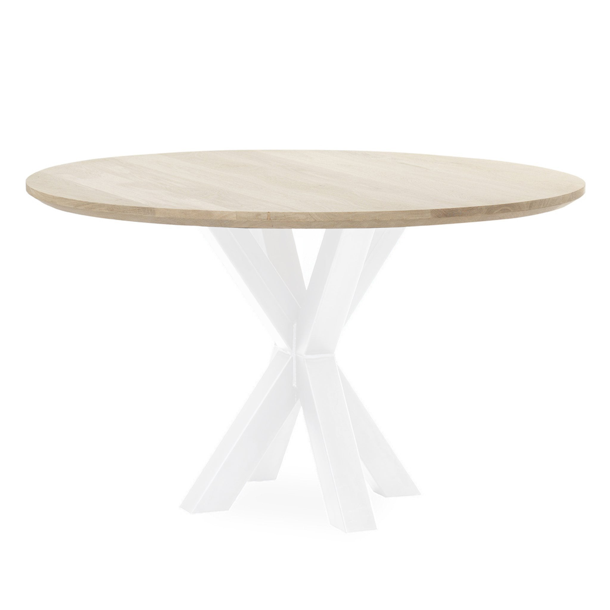 Eettafel Rond 120 Wit.Tafel Superstar Eiken Spinpoot Rond Wit Woodville