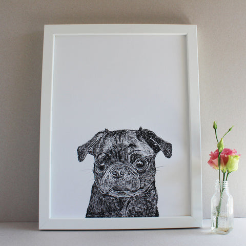 'Olive' The Pug - Open Edition Art Print