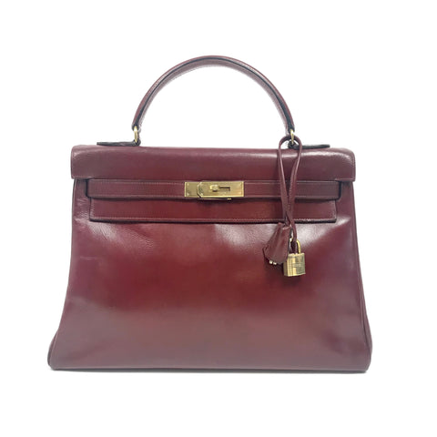 HERMES Kelly 32 Burgundy