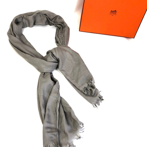 HERMES Scarf Grey Cashmere