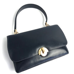 HERMES Ring Leather Handbag Blue